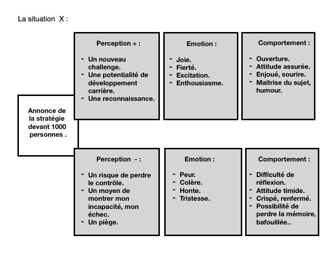 Schéma de perception positive et négative d'une situation